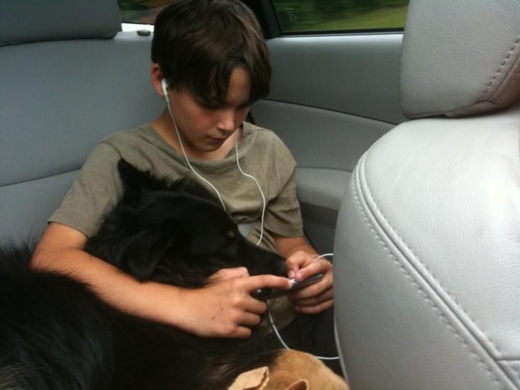 Will and dog (australian shepherd, Sigo)