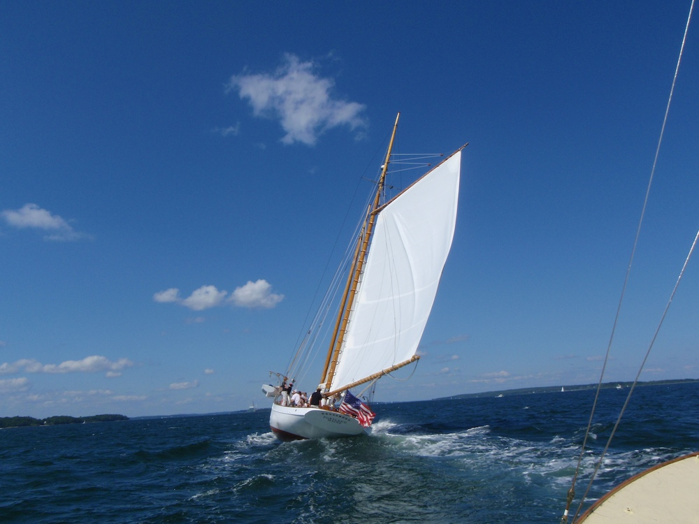 You could almost pretend we fetched her wake, but alas, she crosssed our bow under a much larger spread of sail.