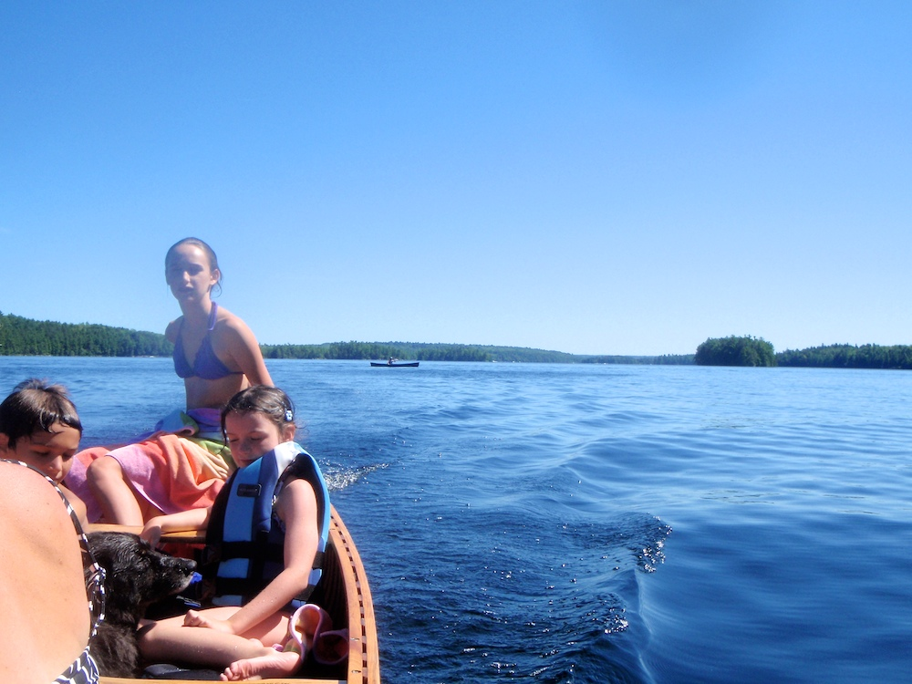 Lucy takes us home, Marc is paddling in the background